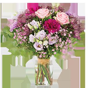 Bouquet de fleurs Opale et son vase offert