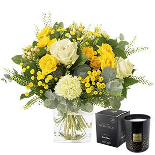 Bouquet de fleurs Sunshine et sa bougie parfumée Coco