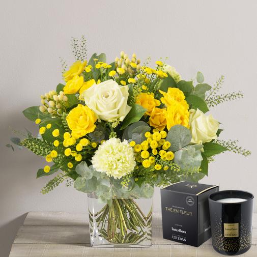 Bouquet de fleurs Sunshine et sa bougie parfumée Interflora par Esteban