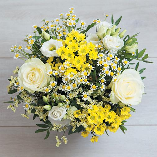 Bouquet de fleurs Topaze et son vase