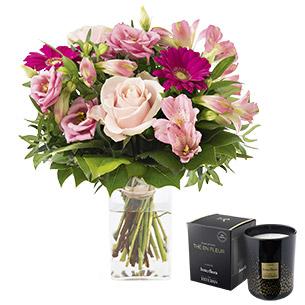 La vie en rose et sa bougie parfumee - interflora