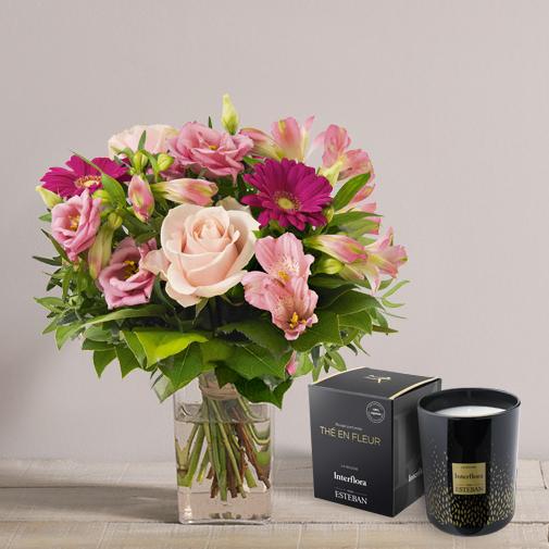 Bouquet de fleurs La vie en rose et sa bougie parfumée
