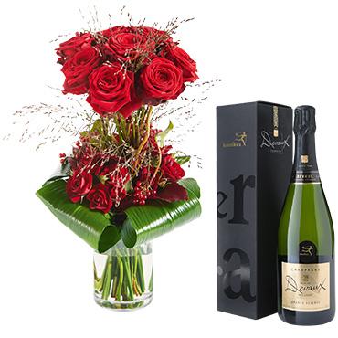 Bouquet de roses Audace et son champagne Devaux-Interflora