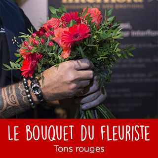 Bouquet du fleuriste tons rouges