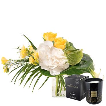 Bouquet de fleurs Luciole et sa bougie parfumée Fleur jaune
