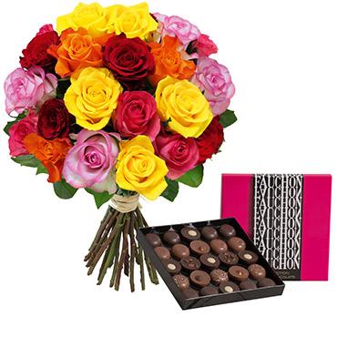 Fleurs et cadeaux Brassée de 20 roses multicolores et son écrin géant FAUCHON Fleur jaune