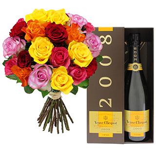 Brassée de 20 roses et son champagne Veuve Clicquot