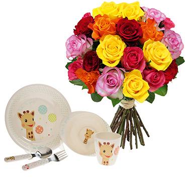 Fleurs et cadeaux Bébé gourmand <br>Sophie la girafe® Fleur jaune