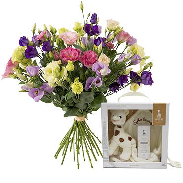 Fleurs et cadeaux Brassée de lisianthus et son coffret Doudou Sophie chérie Naissance