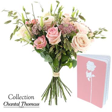 Bouquet de fleurs Rose tendre et son carnet Saint-Valentin