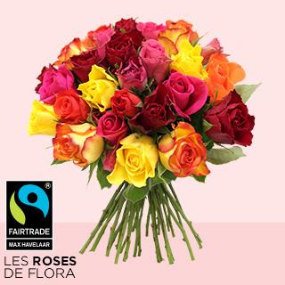 Brassée de 30 roses multicolores Max Havelaar