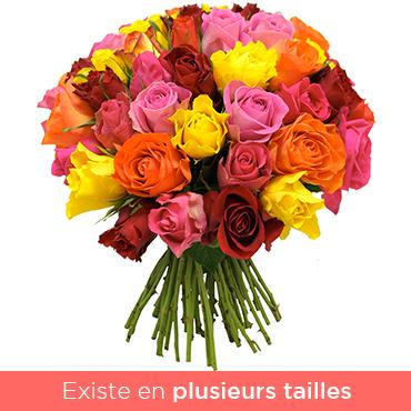 Bouquet de roses Bouquet de roses multicolores Les Roses de Flora