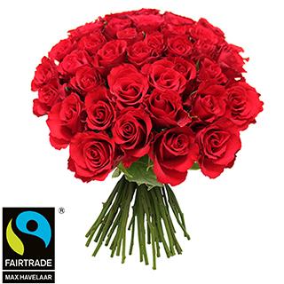 Brassée de roses rouges + 10 roses offertes Max Havelaar