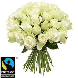 Brassée de roses blanches + 10 roses offertes Max Havelaar