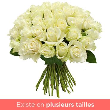 Bouquet de roses Brassée de roses blanches Les Roses de Flora