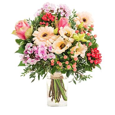 Bouquet de fleurs Rumba et son vase offert Remerciements