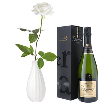 Fleurs et cadeaux Rose blanche et son champagne Devaux