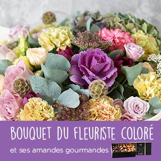 Bouquet du fleuriste coloré et ses amandes au chocolat