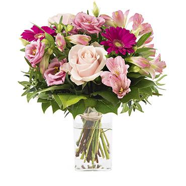 Bouquet de fleurs La vie en rose et son vase offert Remerciements